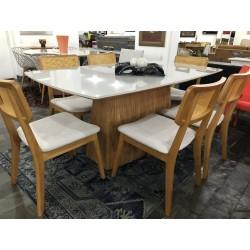 Conjunto Mesa de Jantar 1,80m - ELLIE com 6 Cadeiras - EFRATA