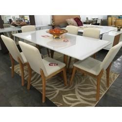 Conjunto Mesa de Jantar 1,60m - YANIS com 6 Cadeiras - ELLIE 103