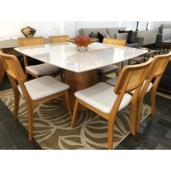 Conjunto Mesa de Jantar Quadrada 1,35m - DRIELE com 6 Cadeiras - YANIS 103