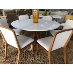 Conjunto Mesa de Jantar Redonda 1,30m - VEGAS com 6 Cadeiras - GUIRÁ