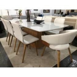 Conjunto Mesa de Jantar 2,20m - ELLIE com 6 Cadeiras - SHELL e 2 Poltronas - ZENITH