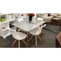 Conjunto Mesa de Jantar 1,20m - UNI com 4 Cadeiras – LUIZA