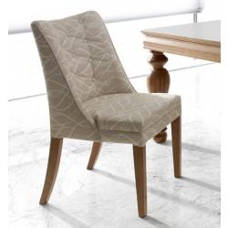 Foto cadeira zafira, acabamento em madeira maciça e com tecido claro