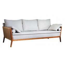 Sofá 3 lugares Lin, acabamento em madeira Tauari com tecido claro