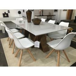Conjunto Mesa de Jantar 2,00m - FLORA + 8 Cadeiras - LUIZA