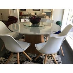Conjunto Mesa Redonda de Jantar 1,35m - AQUILA com 6 cadeiras - LUIZA