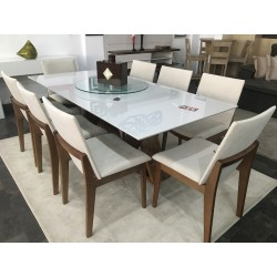 Conjunto Mesa de Jantar 2,00m - FLORA + 8 Cadeiras - AKILA