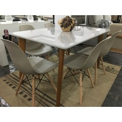 Conjunto Mesa de Jantar 1,35m - MILANO + 6 Cadeiras de Jantar - EIFFEL PP
