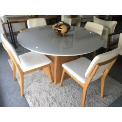 Conjunto Mesa Redonda de Jantar 1,35m - AQUILA com 4 cadeiras - MONACO