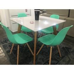 Conjunto Mesa Quadrada 90cm - UNI + 4 Cadeiras - EIFFEL