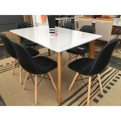 Conjunto Mesa de Jantar 1,60m - MILANO + 6 Cadeiras de Jantar - EIFFEL