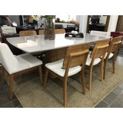 Conjunto Mesa de Jantar 2,20m - IBIZZA com 6 Cadeiras - MONACO e 2 Poltronas - MAIZA