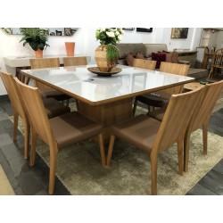 Conjunto Mesa de Jantar Quadrada - BARCELONA com 8 Cadeiras - RAVEZZO 102
