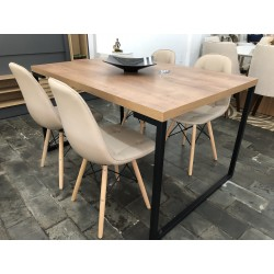 Conjunto Mesa de Jantar 1,35m - INDUSTRIAL com 4 Cadeiras – EIFFEL BOTONÊ