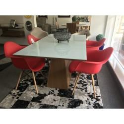 Conjunto Mesa 1,60m –  TM61 + 4 Cadeiras Vermelhas - EIFFEL BOTÔNE
