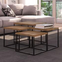 Foto do conjunto Cube. 1 mesa pequena + 2 mesas médias + 1 mesa grande.