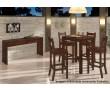 Imagem ambientada conjunto de mesa bistrô quadrada e banquetas em madeira pinus, Savannah