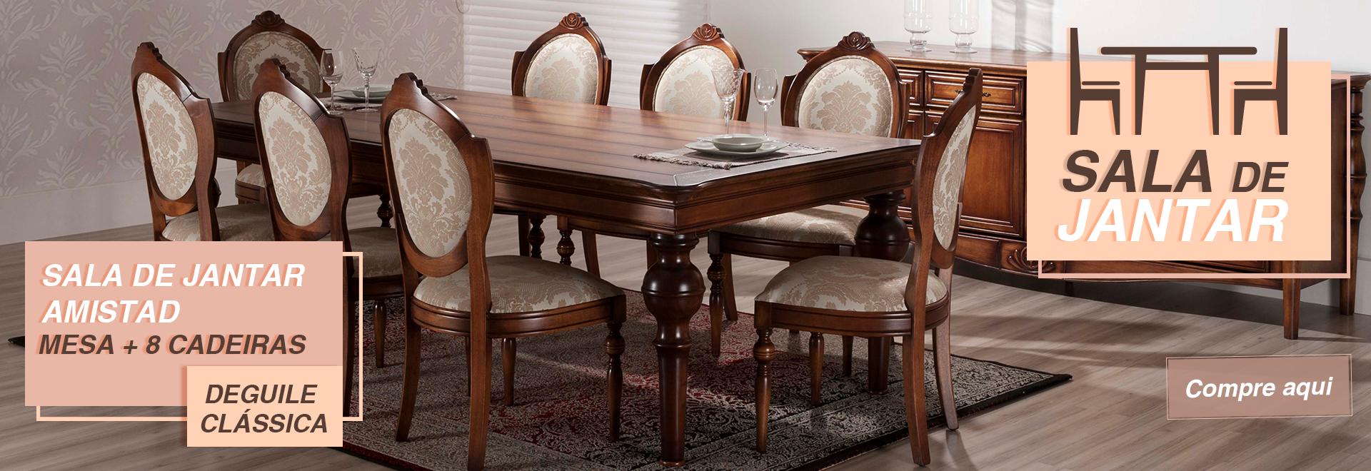 Sala de Jantar Amistad - Mesa + 8 Cadeiras - Deguile Clássica