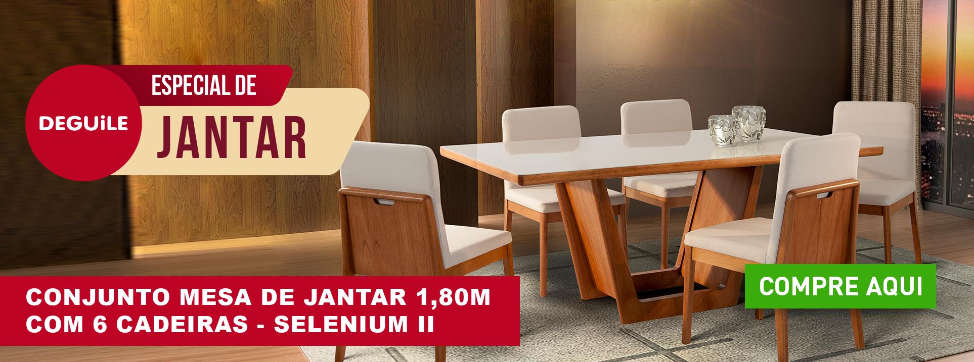 Conjunto Mesa de Jantar 1,80m com 6 cadeiras - SELENIUM II