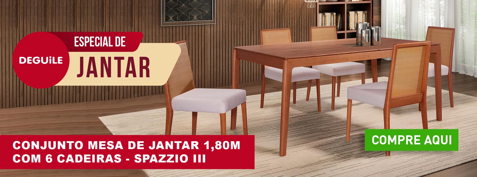 Conjunto Mesa de Jantar 1,80m com 6 cadeiras - SPAZZIO III