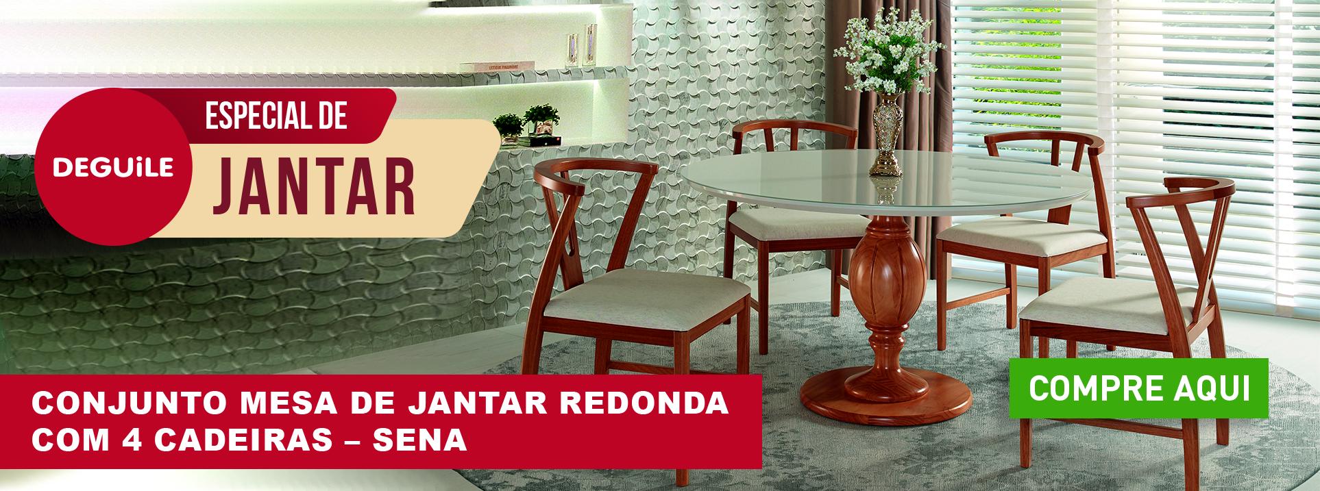 Conjunto Mesa de Jantar Redonda com 4 Cadeiras - SENA