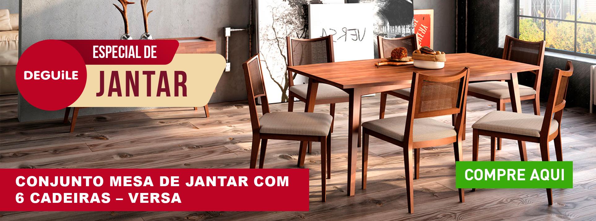 Conjunto Mesa de Jantar com 6 cadeiras - VERSA