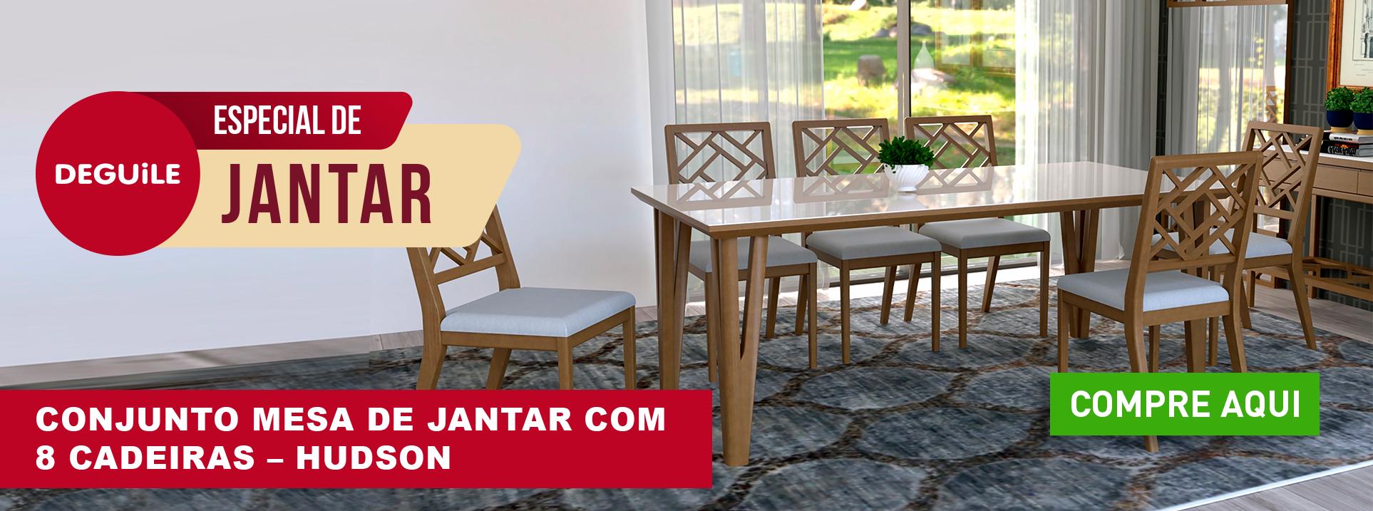 Conjunto Mesa de Jantar com 8 cadeiras - HUDSON