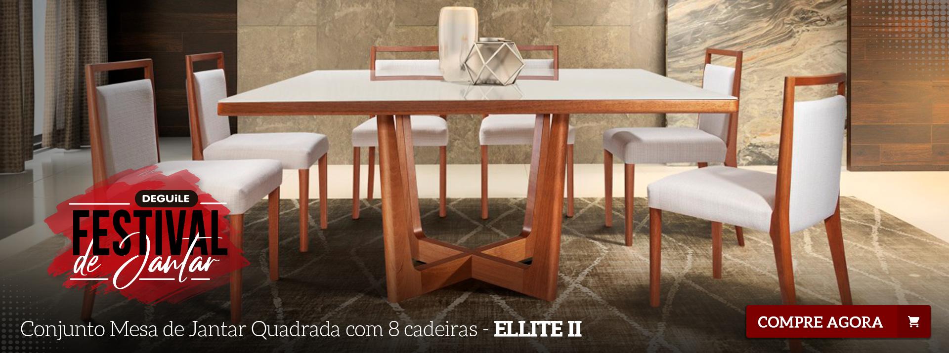 CONJUNTO MESA DE JANTAR QUADRADA COM 8 CADEIRAS - ELLITE II