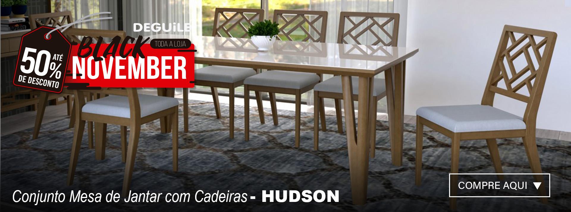 CONJUNTO MESA DE JANTAR COM CADEIRAS - HUDSON