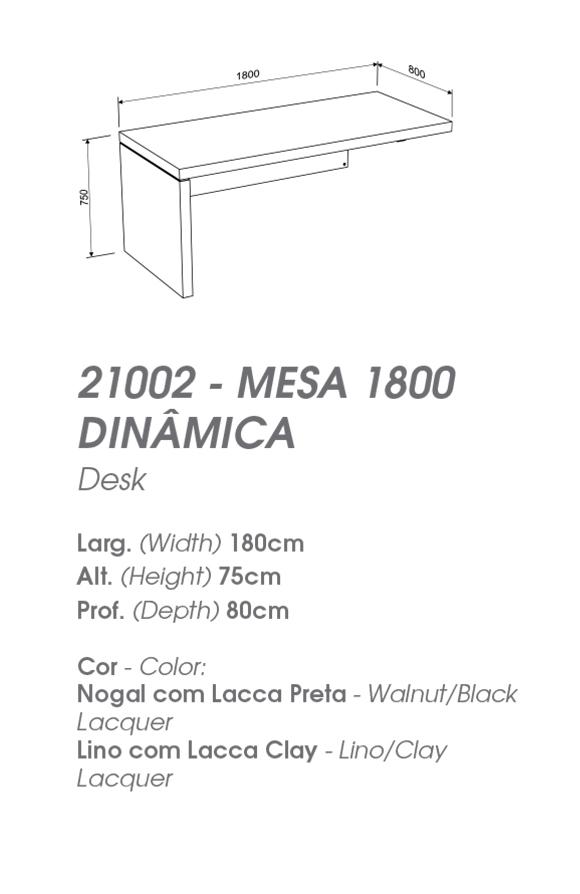 Mesa de Escritório 1,50m ou 1,80m com Balcão - MIRAGGIO 21002