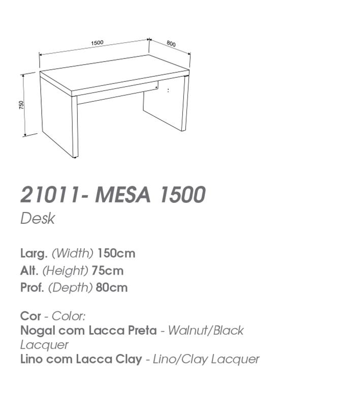 Mesa de Escritório 1,50m ou 1,80m - MIRAGGIO 21011