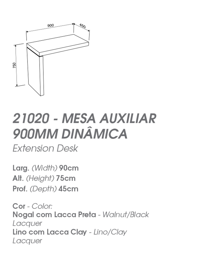 Mesa de Escritório 1,50m ou 1,80m com Auxiliar - MIRAGGIO 21012