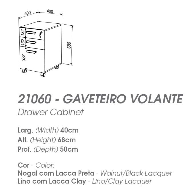 Gaveteiro Volante 3 Gavetas - MIRAGGIO 21060