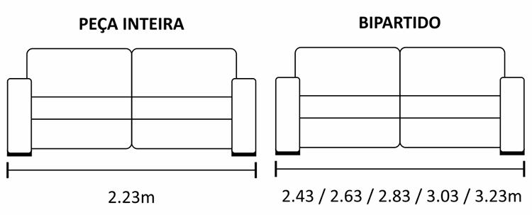 Medidas e profundidade do sofá Buriti