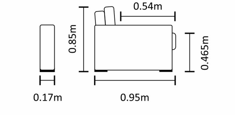 Medidas e profundidade do sofá caeté