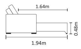 Medidas e profundidade do sofá cama Clark