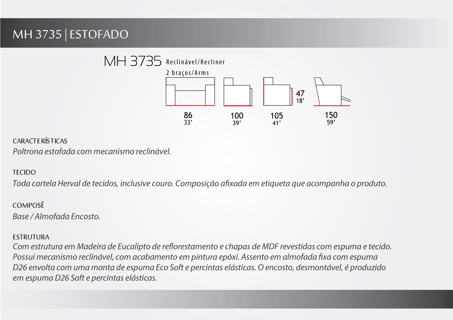 Poltrona Reclinável - mh3735