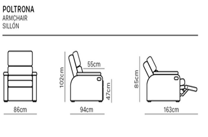 Desenho técnico com medidas da poltrona