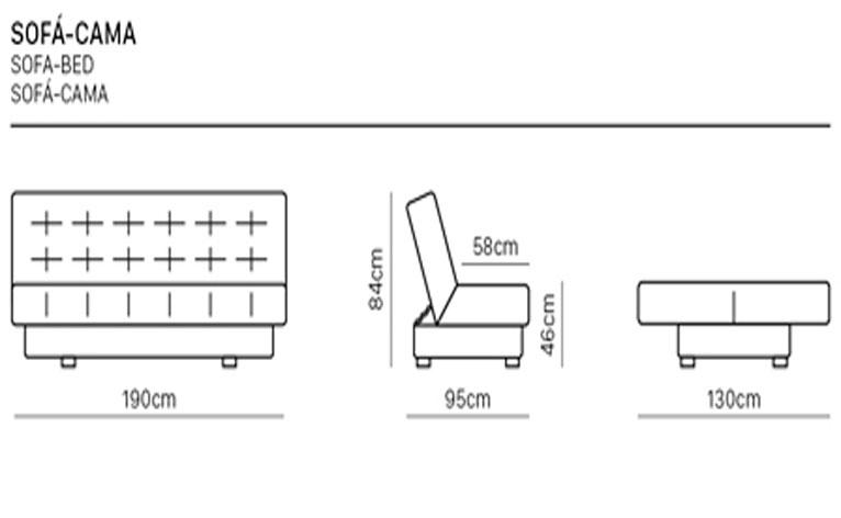 Tamanhos disponíveis e medidas do sofá