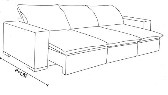 Medidas e profundidade do sofá retrátil laricia