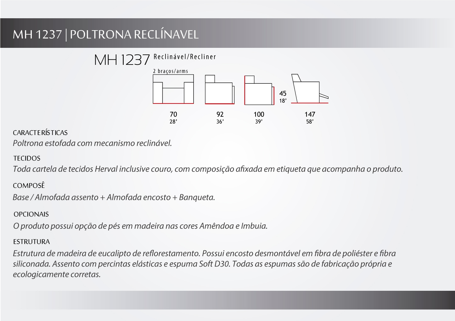 descrição da poltrona reclinável MH1237