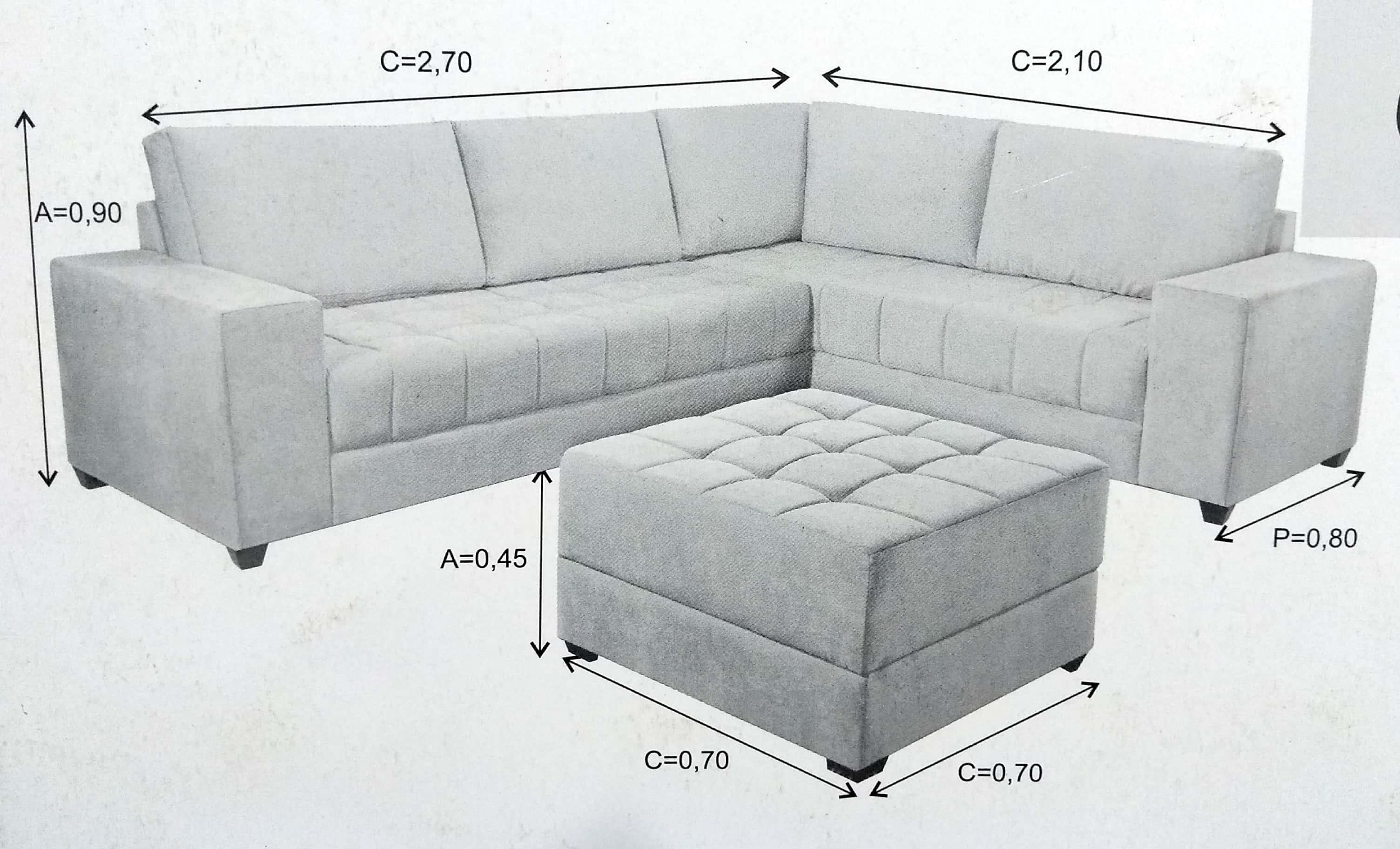Medidas e profundidade do sofá de canto Pietra